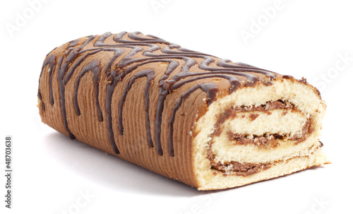Sweet roll on white background