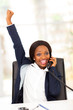 young african american businesswoman receiving exciting news