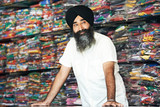 Young adult indian sikh seller man poster