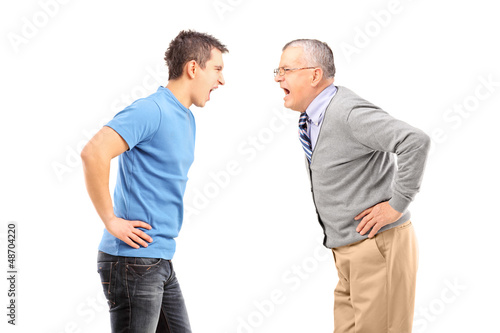 Angry father and son having an argument
