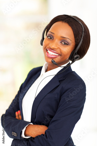 young african american business call center operator