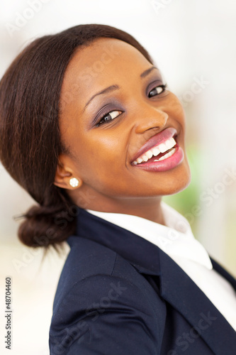 happy african american corporate worker closeup