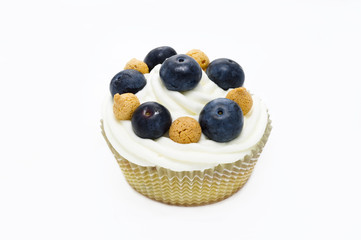 muffin with italian pastries called amaretti and blueberries