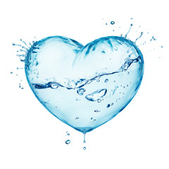 Heart from water splash with wave, inside isolated on white
