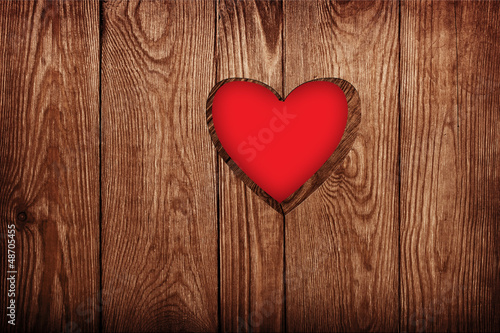 Wooden door close-up, heart shape