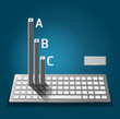 Modern keyboard  infographics education / numbered banners / hor