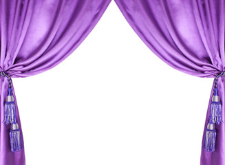 purple silk curtain with tassels over white