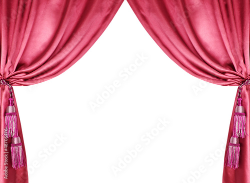 red silk curtain with tassels isolated on white
