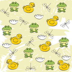 Sweet seamless pattern with frogs and ducks