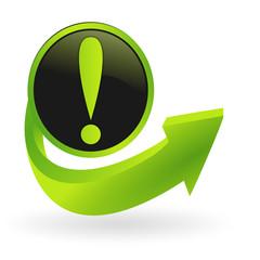 bouton point d'exclamation flêche verte