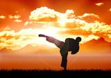 Stock illustration of Karate training