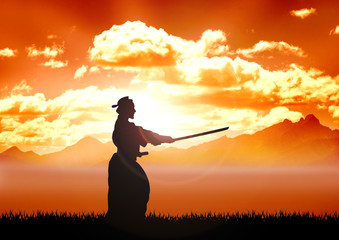 Stock illustration of Kendo Training