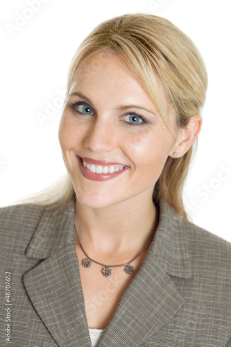 Business woman headshot portrait isolated on white background