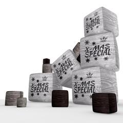x-mas special discount wooden cubes