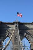 American flag on top of the famous Brooklyn Bridge poster