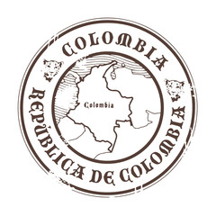 Grunge rubber stamp with the name and map of Colombia, vector