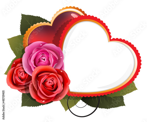 Roses and hearts. Valentine's Day card