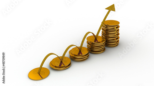 3d diagram of golden coins with arrow