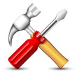 Hummer and Screwdriver Icon. Vector illustration