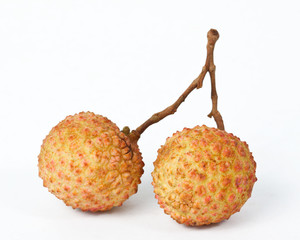 Fresh litchi on white background