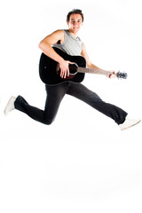 A young man in a jump with guitar