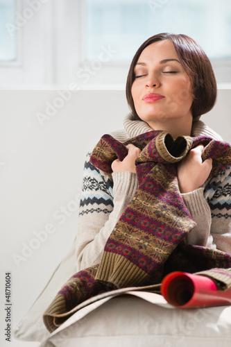 Portrait of a woman preparing to her husband or boyfriend surpri