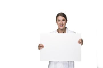 Ärztin mit Tafel in der Hand