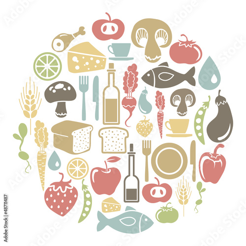 round card with food icons