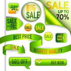 Vector green and yellow discount elements