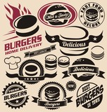 Fototapety Burger and fast food icons, labels, signs, symbols
