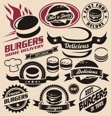 Burger and fast food icons, labels, signs, symbols