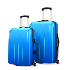 suitcases in blue