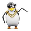 Penguin rapper points  towards something