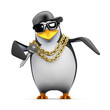 Penguin rapper at the mic