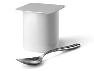 Yaourt et cuillère sur fond blanc 1