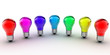 colored bulb on white background - 3d render
