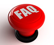 faq round red glossy icon on white background
