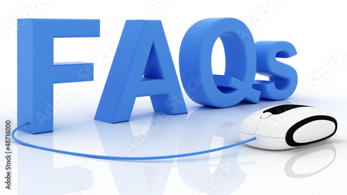 FAQ 3D text with computer mouse. Isolated on white
