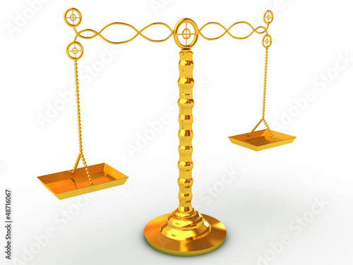 golden balance scales studio isolated