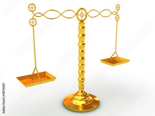 golden balance scales studio isolated