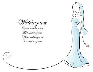 Силуэт невесты, фон, свадебные приглашения, вектор