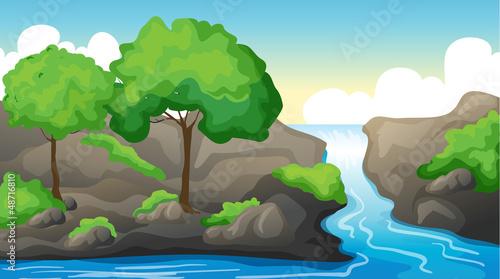 In de dag Indiërs A river and a beautiful landscape
