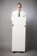 Upset businessman holding white empty panel.