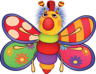 Soft toy, the toy butterfly. Cartoon