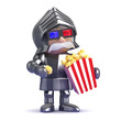 Knight eats popcorn at the cinema