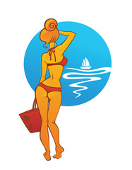 girl on the seacoast, vector travel illustration..girl on the se