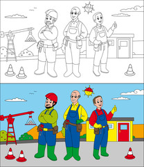 Coloring page for little kids: workers in a construction site.