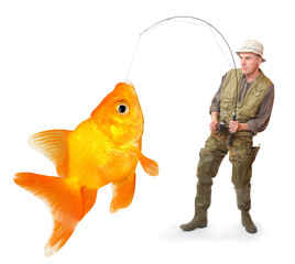 The Fisherman with big a Goldfish. Success concept.