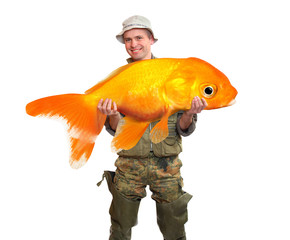 The Fisherman with a big Goldfish. Success concept.