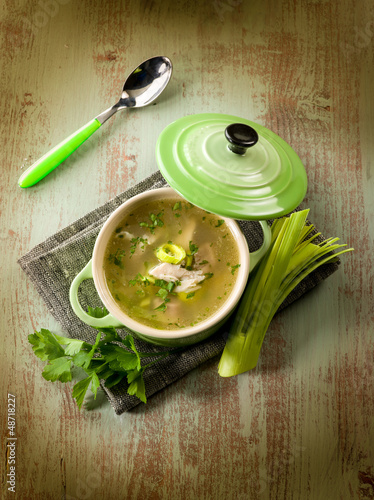 soup with chicken and leek